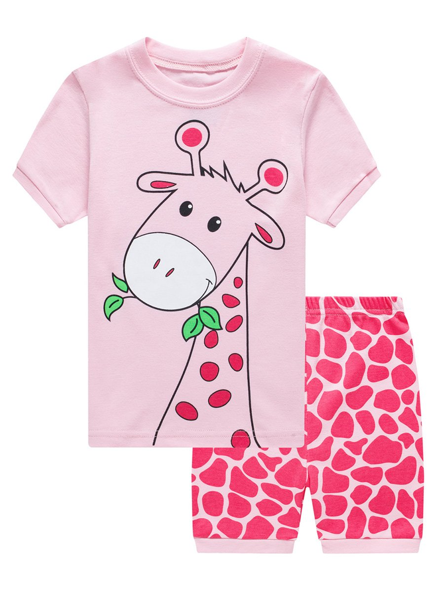 LYXIOF Little Girls Short Pajamas Toddler Cotton Summer Clothes Sleepwears Kids Pjs Sets A-Pink 4Y