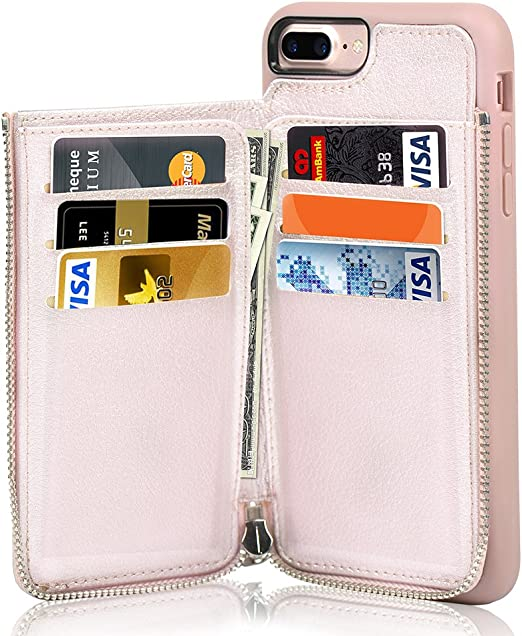iPhone 7 Plus Zipper Wallet Case, iPhone 8 Plus Leather Case, LAMEEKU Apple 7 Plus Credit Card Holder Slot case with Money Pocket, Protective Cover ...