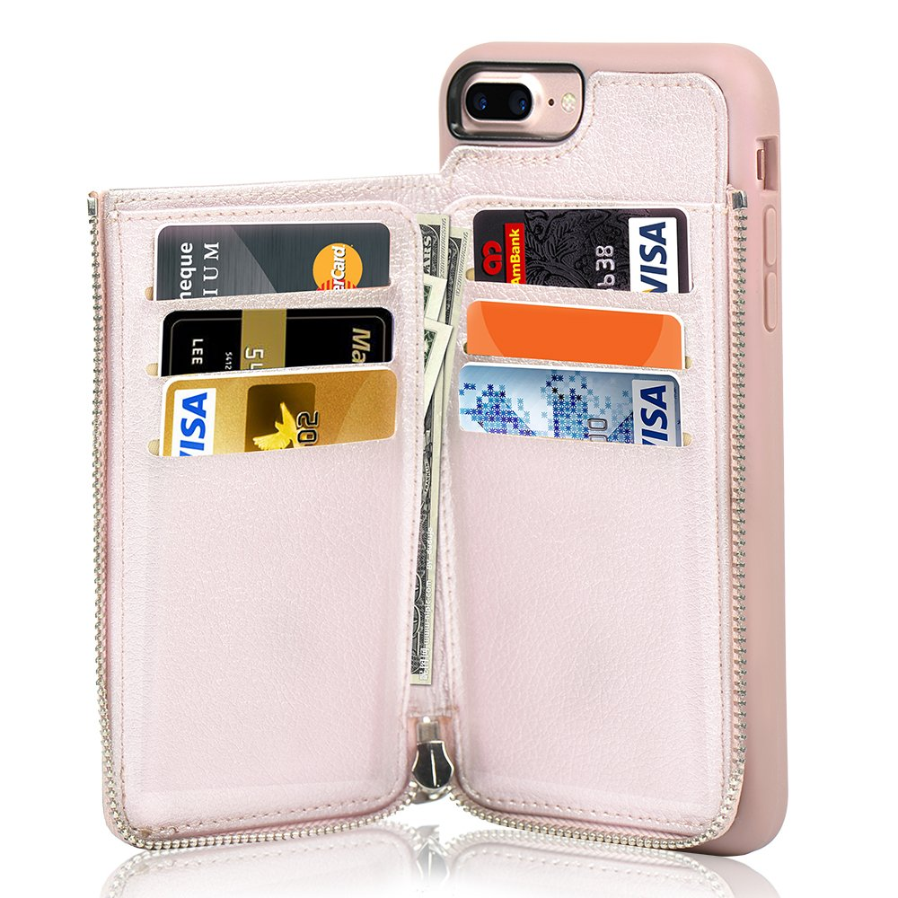 on sale 9625f c6065 LAMEEKU iPhone 7 Plus Zipper Wallet Case, iPhone 8 Plus Leather Case, Apple  7 Plus Credit Card Holder Slot case with Money Pocket, Protective Cover ...