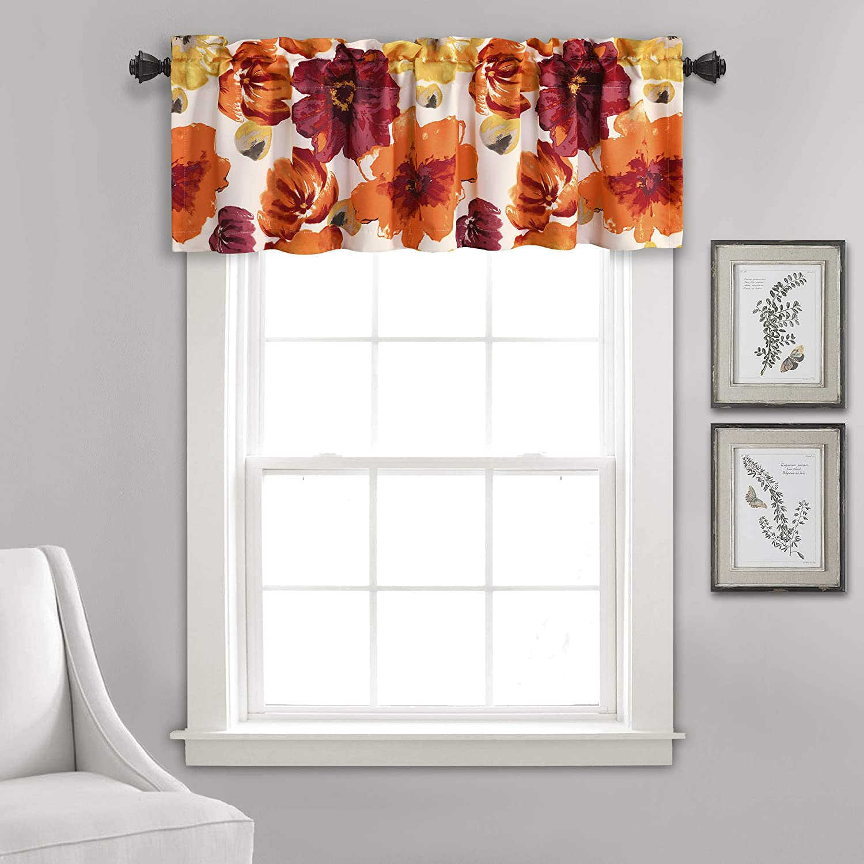"Lush Decor Leah Floral Window Curtain Valance, 18"" x 52"", Red and Orange, L"