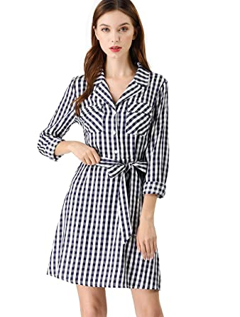 f4484459fb54d Allegra K Women s Spread Collar Pockets Tie Waist Stripped Plaid Shirt Dress  XS Blue