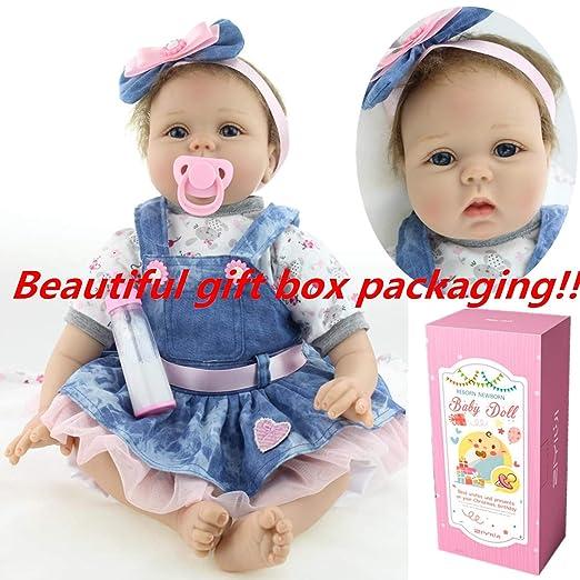ZIYIUI 55cm Muñeca Reborn bebé Niña Vinilo Silicona Realista Niñita Muñecos Reborn Babys Dolls 22 Pulgadas Hecha a Mano Niños Juguete