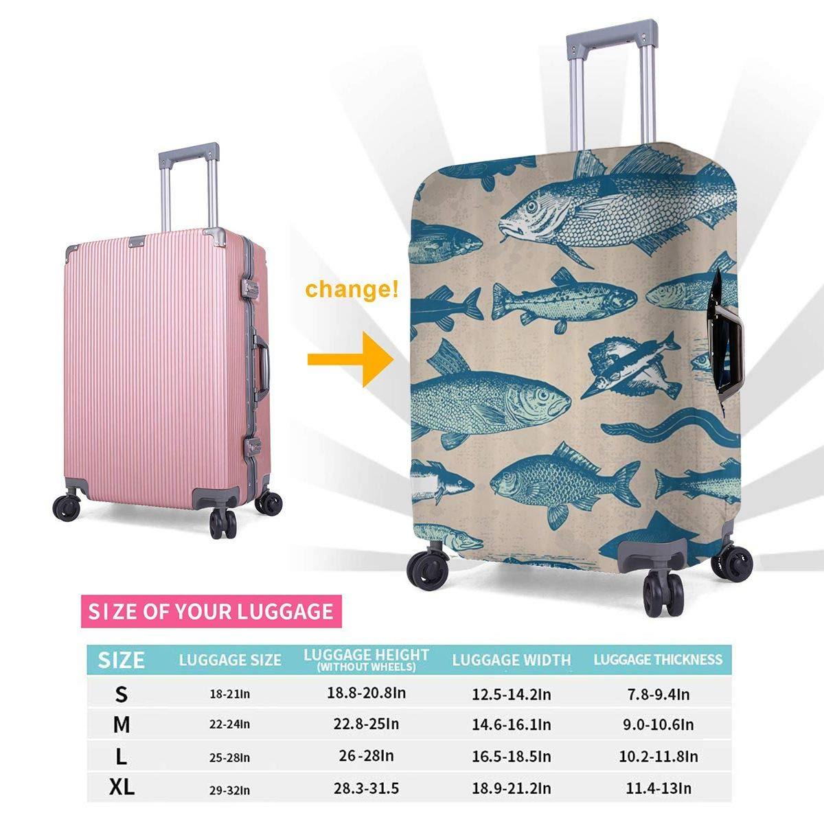 JHNDKJS Nautical Coastal Travel Luggage Cover Baggage Suitcase Protector Fit for 12-18 Inch Luggage