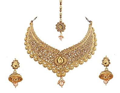 185e21fab Khushiyan 18 K Gold Plated Antique Rajwadi Fashion/Imitation Jewellery  Stone Choker Necklace Set for Girls and Women for Wedding and Festivals  (LCD Choker ...