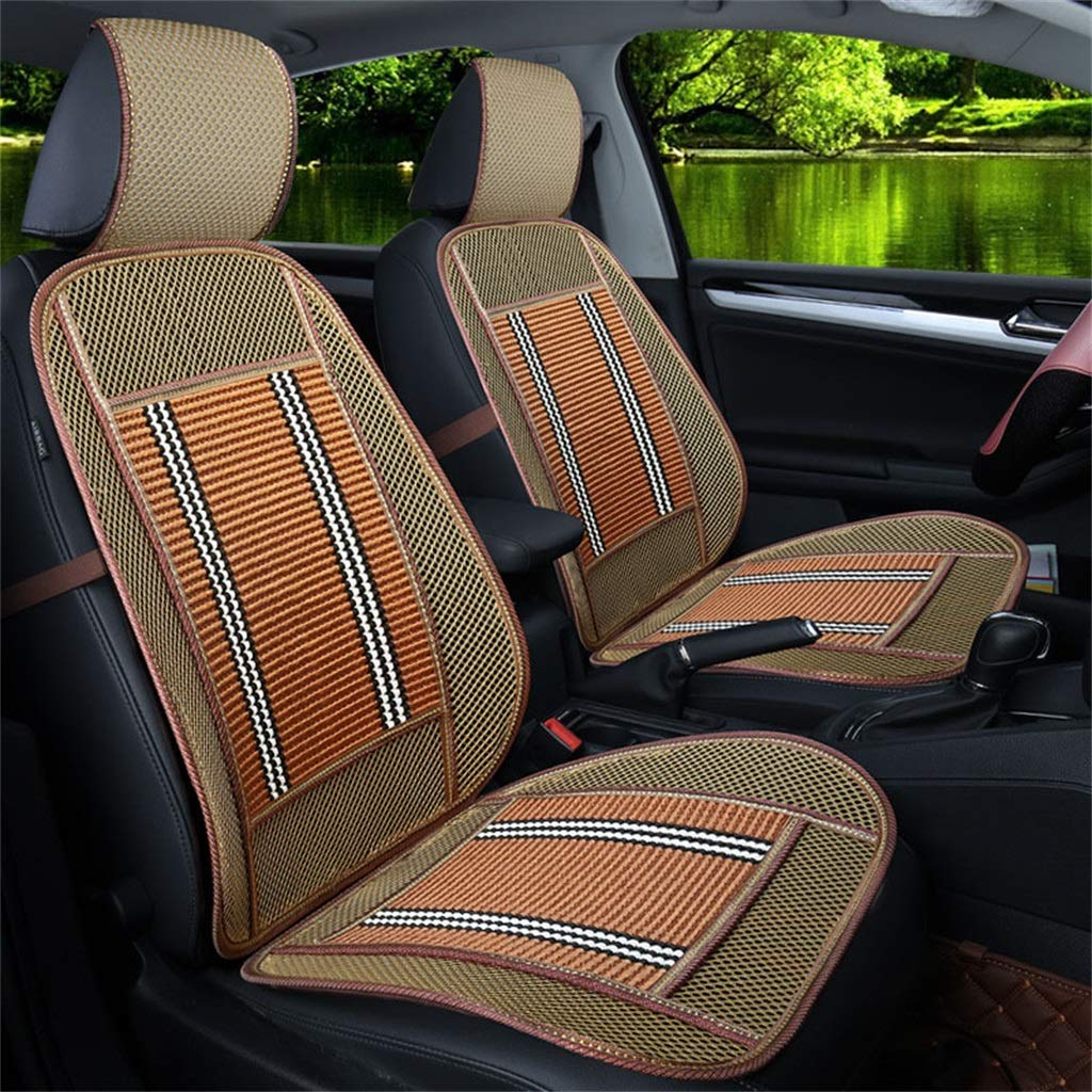 golden yellow Wood Beaded Seat Cushion Summer Breathable Seat Cover Anti-Slip Car Interior Seat Chair Pad Cushion Single Seat