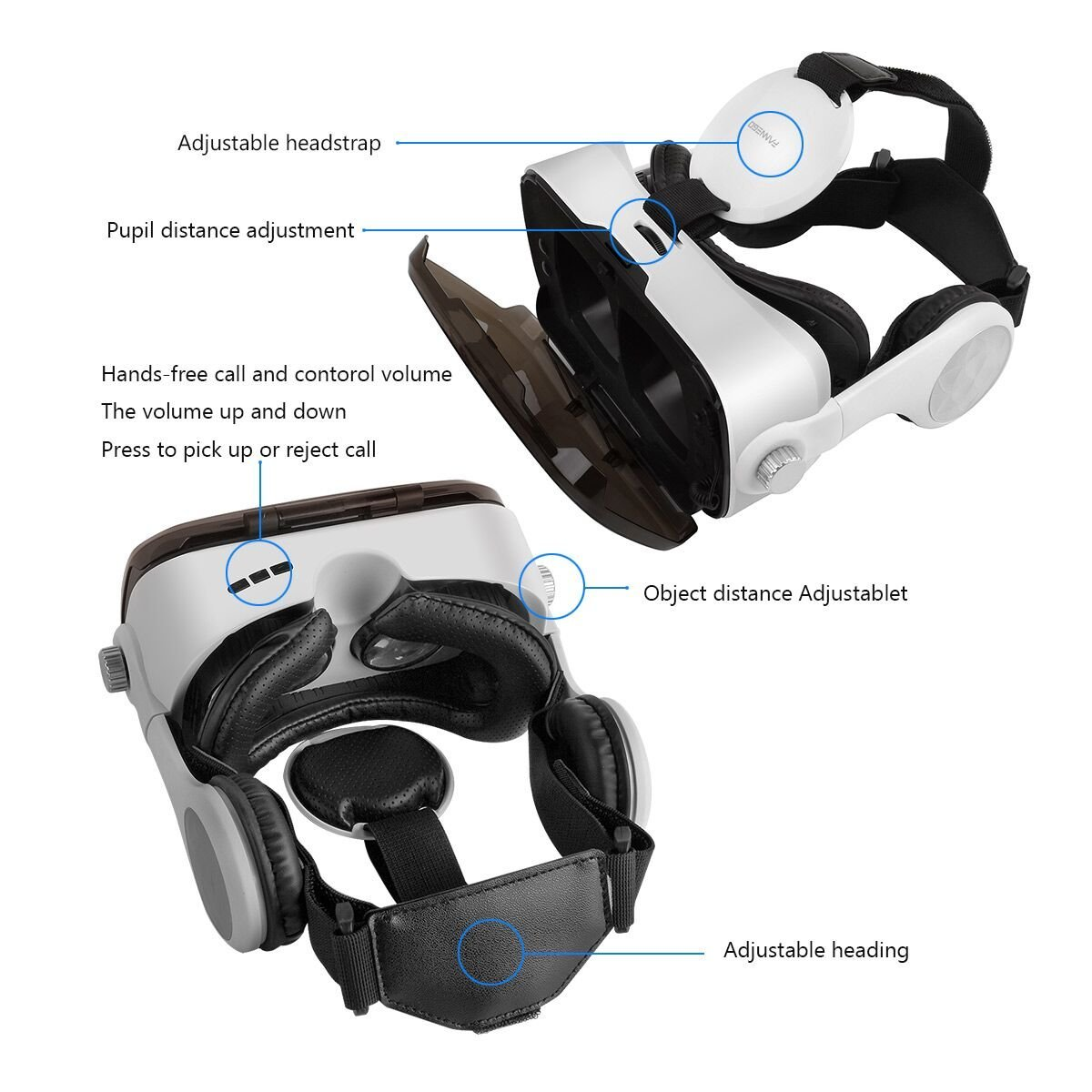 FANNEGO VR Headset, VR Goggles with Stereo Headphone Compatible with IOS & Android 3.5''-6.0'' Cellphones