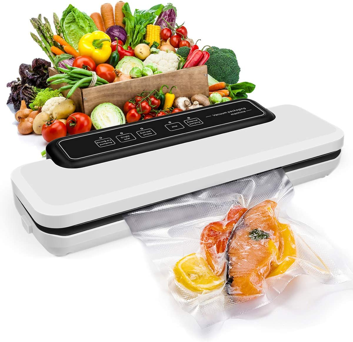 Vacuum Sealer Machine, Automatic Food Saver One-Touch Safe Operation, Easy to Clean| Dry & Moist Food Modes| Compact Design Kit of Rolls & Hose & Replaceable Bags
