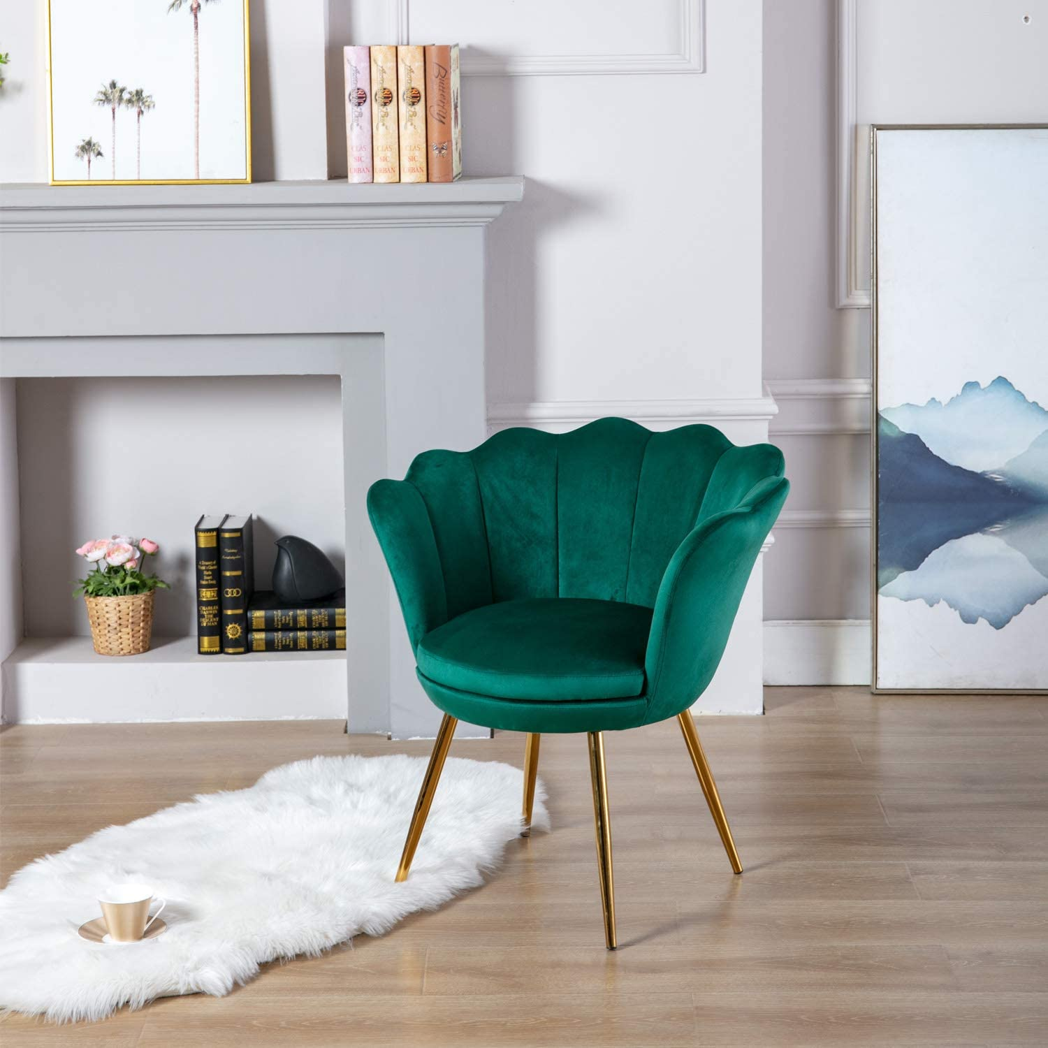 Wahson Velvet Accent Chair For Bedroom With Gold Plating Metal Legs Leisure Armchair For Living Room Cafe Vanity Green Amazon Co Uk Kitchen Home