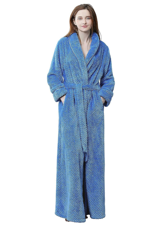 PUTUO Womens Luxury Soft Fleece Dressing Gown Ladies Bathrobe Full ...