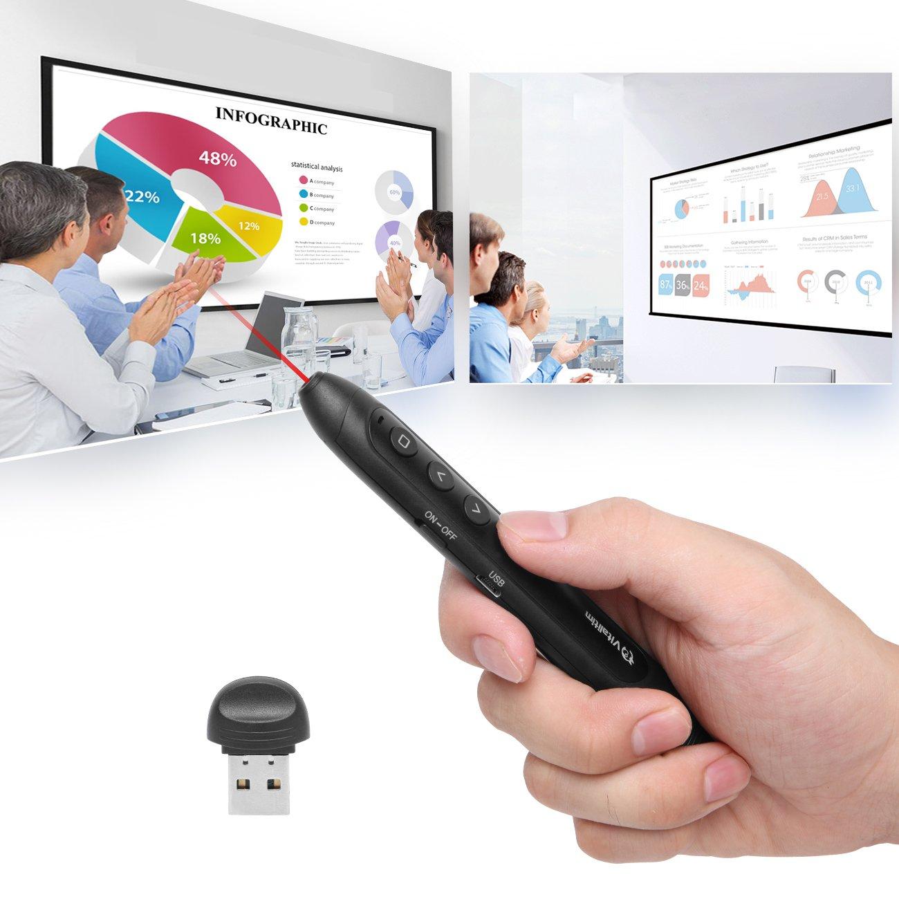 Vitalitim Rechargeable Wireless Presenter, 2.4Ghz Wireless USB Powerpoint PPT Presentation Pointer Remote Control Clicker Pen, Support Hyperlink (BLack)
