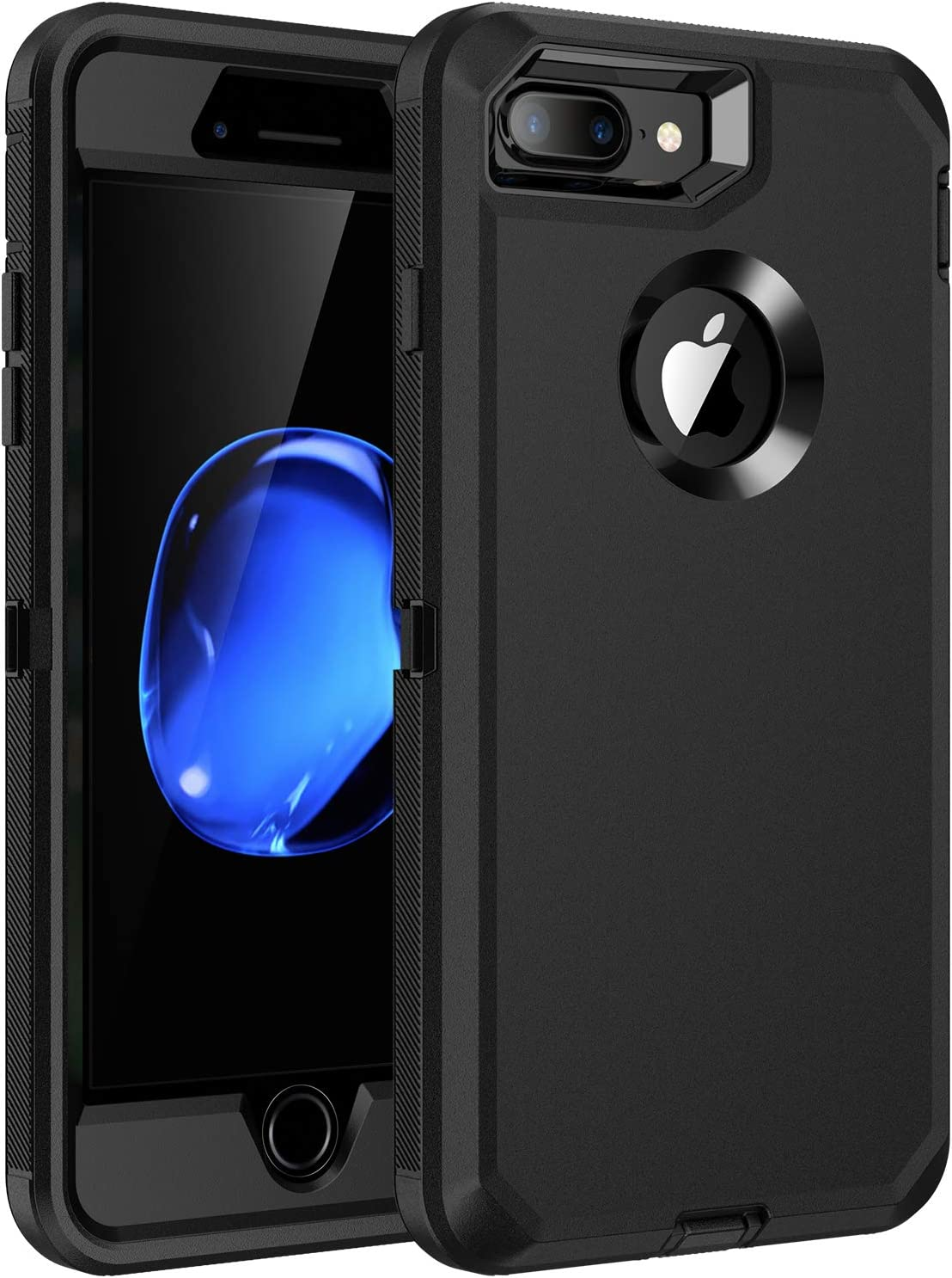 RegSun for iPhone 8 Plus,iPhone 7 Plus Case,Built-in Screen Protector, Shockproof 3-Layer Full Body Protection Rugged Heavy Duty High Impact Hard Cover Case for iPhone 8+/7+ 5.5 inch,Black