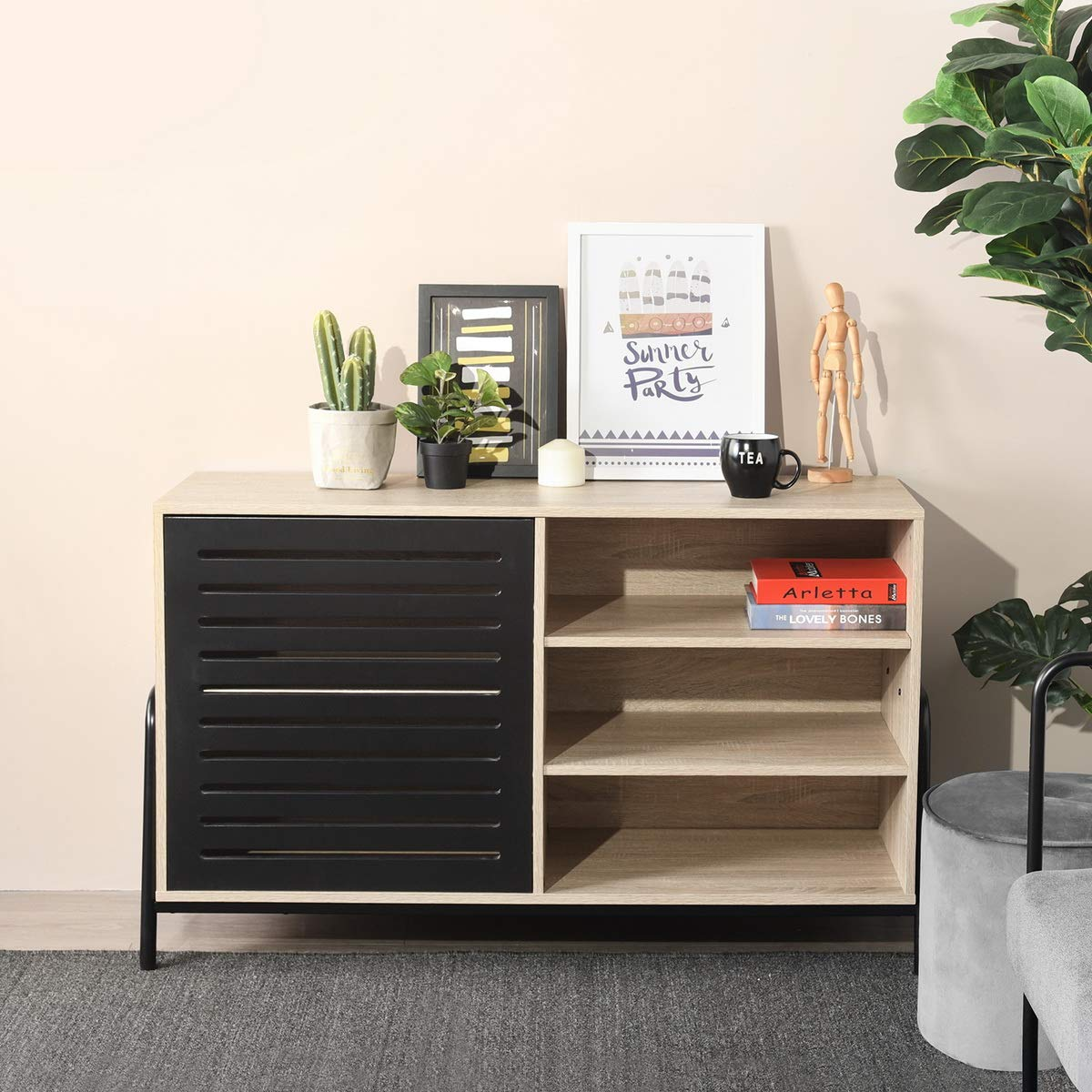 Side Board HOMEMAKE Night Stand with Drawer and Shelf Storage Multipurpose Sofa End Side Table Home Furniture(Side Board)