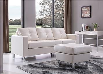 Super Braxton Small Space Convertible Sectional Sofa White Creativecarmelina Interior Chair Design Creativecarmelinacom