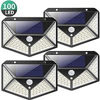 Kilponen Luz Solar Exterior 100 LED [4-Paquete 2200mAh Potente] Foco Solar Exterior Gran Ángulo 270° con Sensor de…