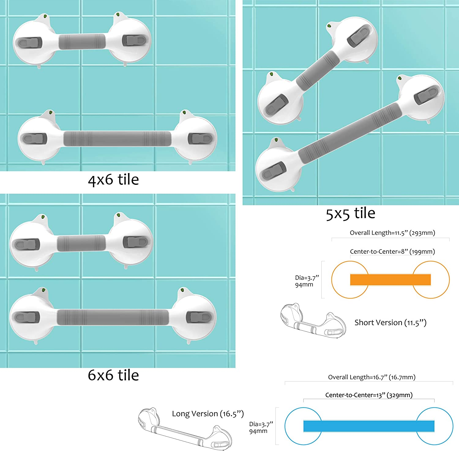 """AmeriLuck Suction Bath Grab Bar 16.5"""" with Indicators, Bathroom Shower Handle (Silver, 2 Pack): Home & Kitchen"""