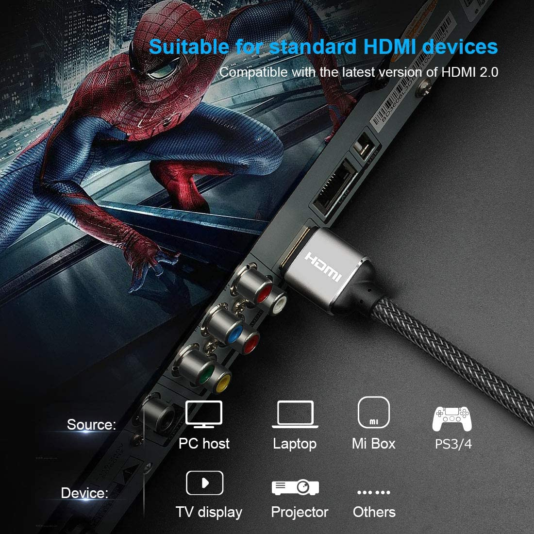 High Speed 4K HDMI Cable 10 ft//3m 18Gbps HDMI 2.0 Cable with Braided CordSupports 4K 60Hz HDR,Video 4K 2160p 1080p 3D,Compatible with Ethernett ARC PS4//3 HDTV Xbox