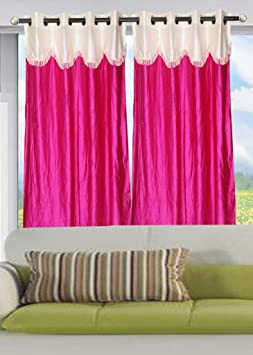 Christy's Collection Fancy Floral 4 Piece Polyester Eyelet Long Door Curtain - 9ft, Multicolour Curtains at amazon
