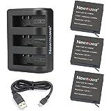 AZ16-1 Newmowa Replacement Battery (3-Pack) and 3-Channel USB Charger for Xiaomi YI AZ16-1 and Xiaomi Yi 4K,Yi 4K+,Yi…