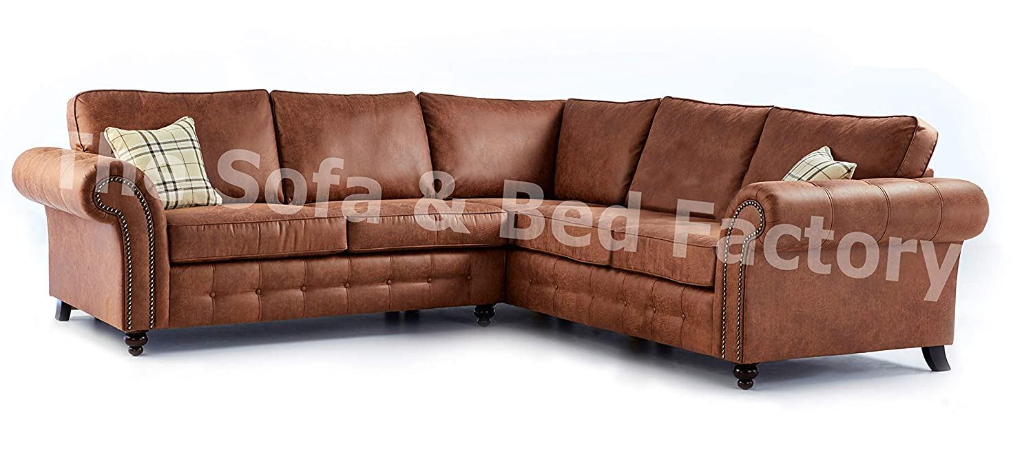 Oakridge Extra Large 5 Seater Tan Leather Corner Sofa 2 ...