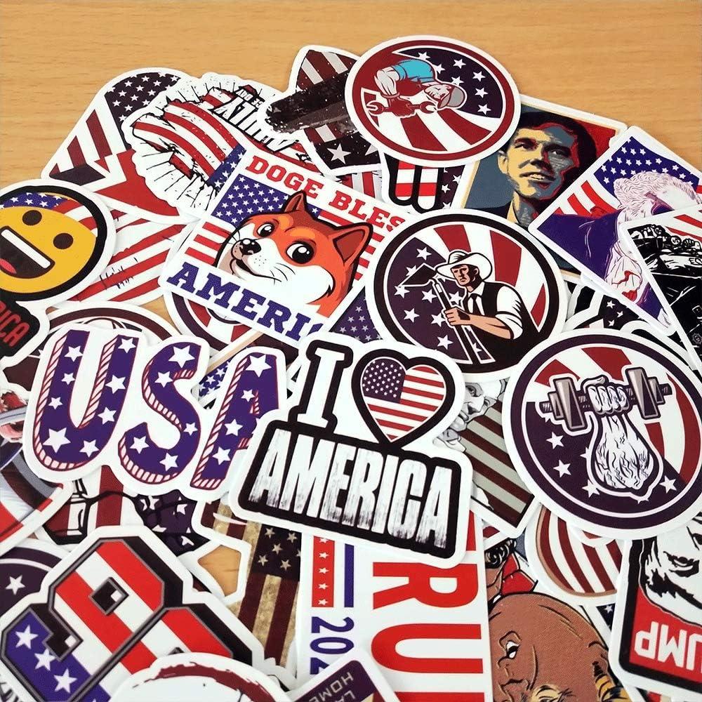 50pcs America Trump Stickers Waterproof Vinyl Stickers Water Bottle Sticker, Decals for Laptop Computer Travel Case Skateboard Kids Teens Adults Stickers