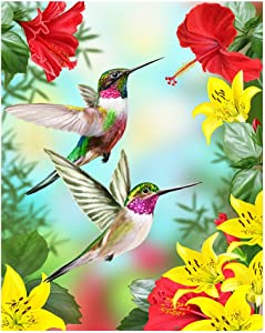"ALAZA Hummingbirds Red Flower Hibiscus Yellow Lilies Birds Small Garden Yard Flag 12"" x 18"" Twin Sides, Tropical Flower Leaves Birds Decorative Flag Banner for Outdoor Home Decor Party"