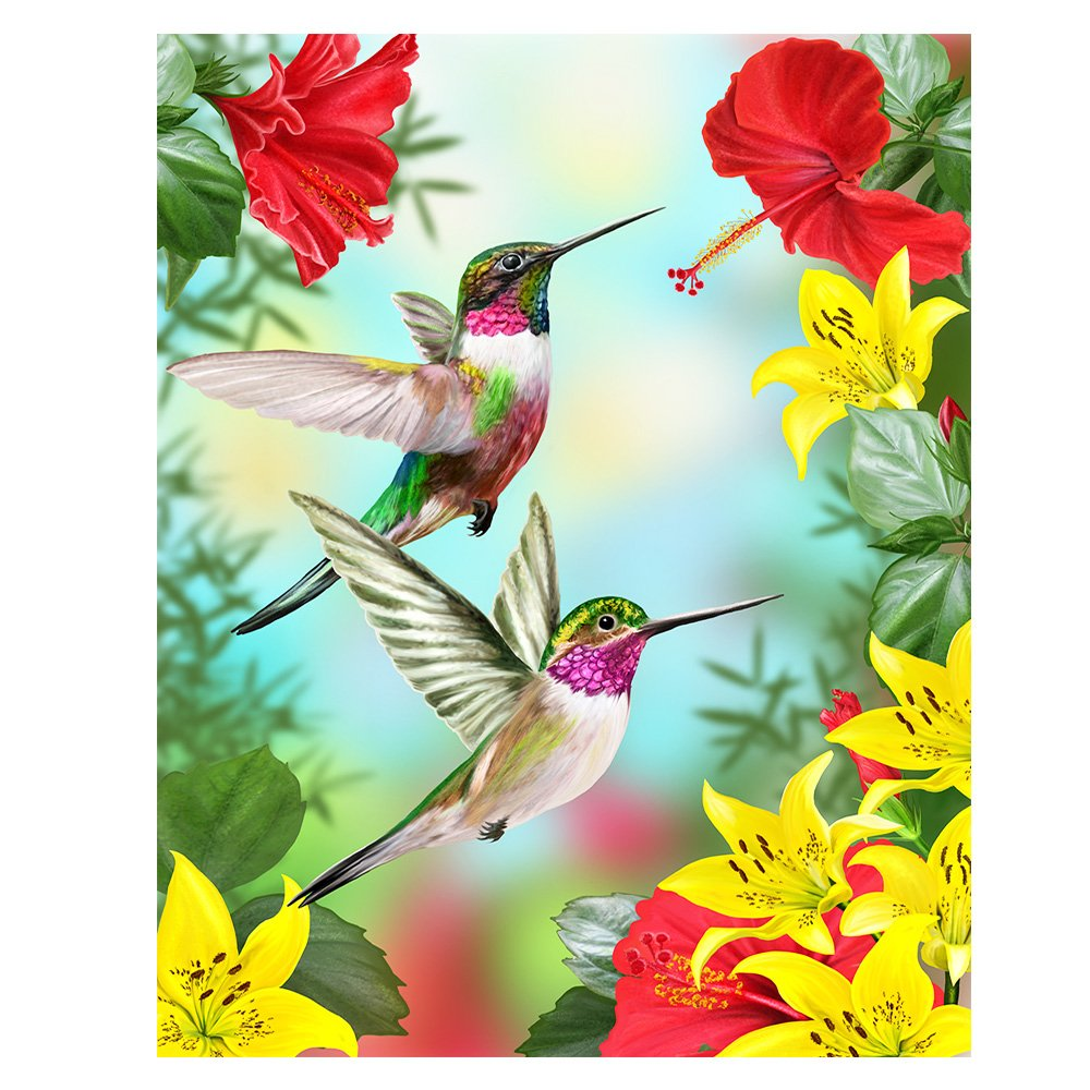 ALAZA Hummingbirds Red Flower Hibiscus Yellow Lilies House Flag Banner 28'' x 40'' Twin Sides, Tropical Flower Leaves Birds Garden Flags for Anniversary Yard Outdoor Decoration