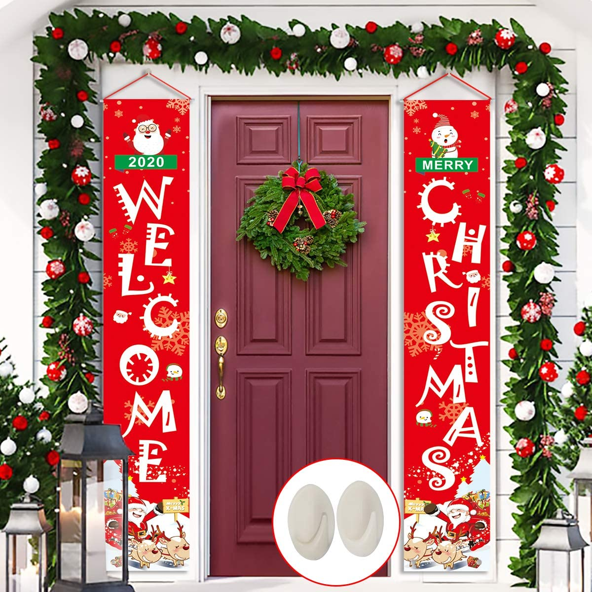 Merry Christmas Door Banner, Libay Large Size Front Door Welcome Christmas Porch Sign Hanging Xmas Banners for Outdoor Indoor Home Wall Decorations Holiday Party Decor