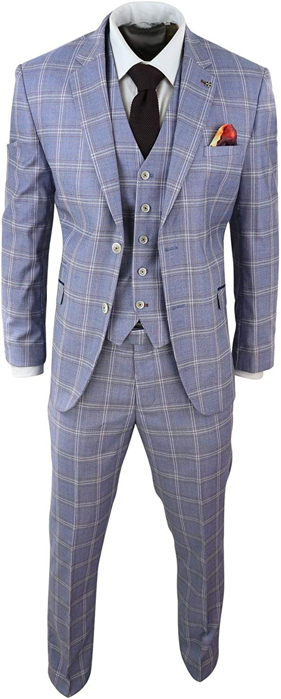 Mens 3 Piece Blue Grey Tailored Fit Complete Suit Classic Check Vintage Retro Style