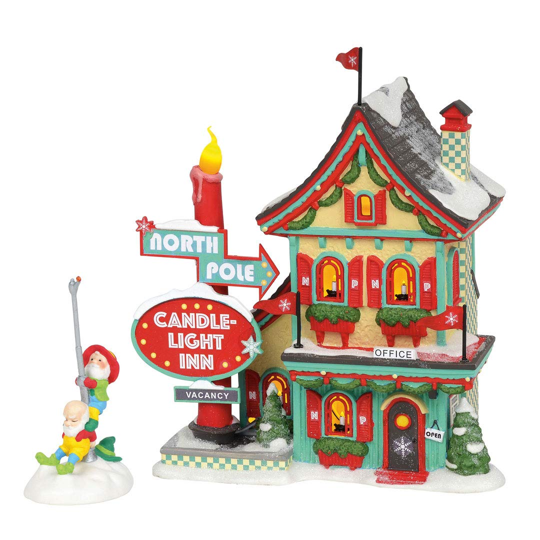 Department 56 North Pole Village Series Welcoming Christmas Candle-Light Inn Lit Building and Accessory, 7.01'', Multicolor