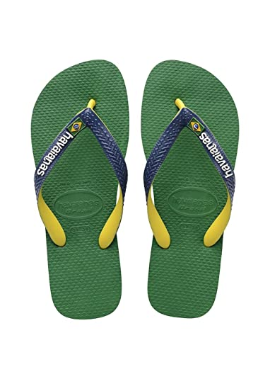 Havaianas Unisex Adults Brasil Mix Flip Flops,Green/Navy Blue, 1/2