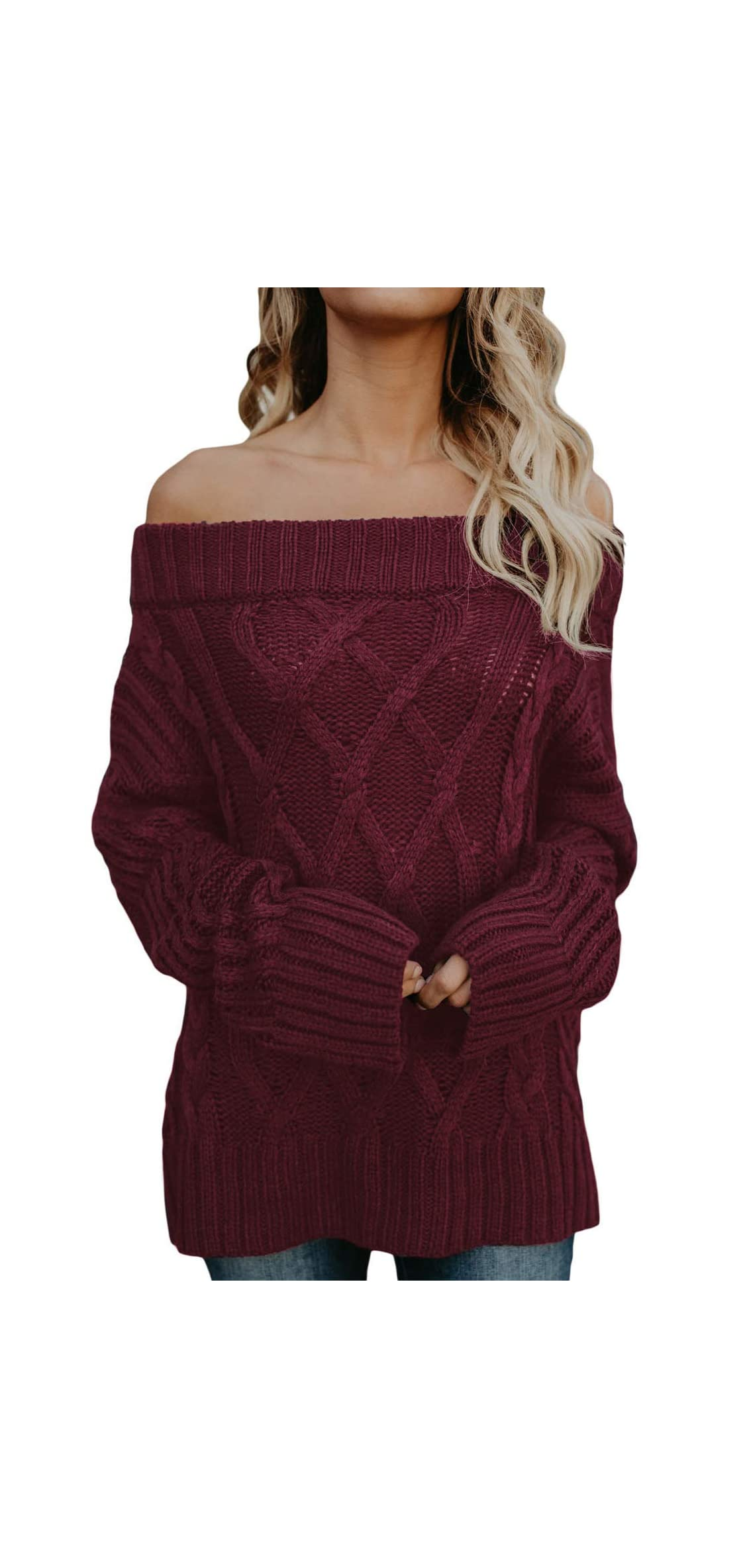 Womens Loose Knitted Off The Shoulder Oversized Top