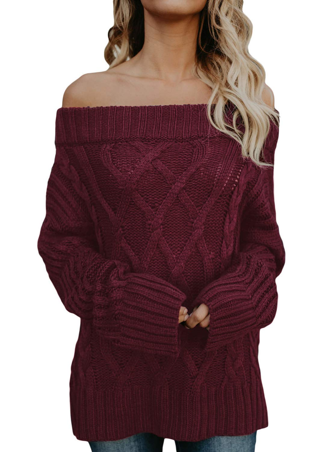 Dearlovers Women's Off Shoulder Casual Loose Knit Sweater Pullovers Red S