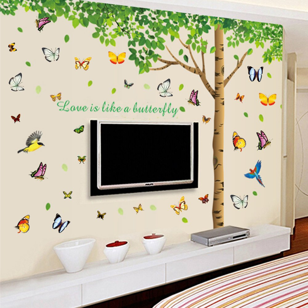 Colorful decals 74h x 97w more attachments for colorful decals 74h x 97w more attachments for butterflies extra large wall decor under the fresh green leaves quote green tree to enjoy easy and amipublicfo Gallery