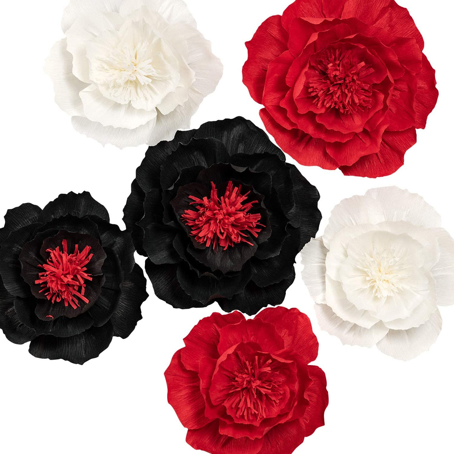KEY SPRING Paper Flower Decorations, Large Crepe Paper Flowers, Giant Paper Flowers, Handcrafted Flowers (Black, Red, White Set of 6) for Wedding, Nursery Wall Decorations, Bridal Shower, Baby Shower