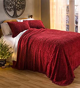 Plow & Hearth Wedding Ring Tufted Chenille Twin Bedspread - Antique Red - 80 L x 110 W x 0.25 H