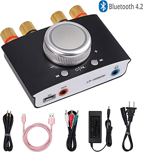 Bluetooth Amplifier Mini Bluetooth 4.2 AMP Audio Receiver 2 Channel 50W 50W Hi-Fi Digital 12V Amplifier with AUX USB Bluetooth Input for Home Stereo Speakers Marine Car