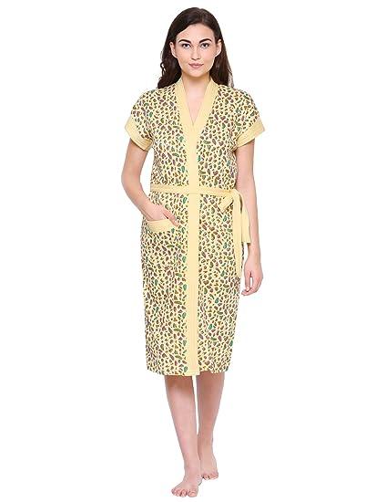Secret Wish Womens Yellow Cotton Bathrobe (Free Size)