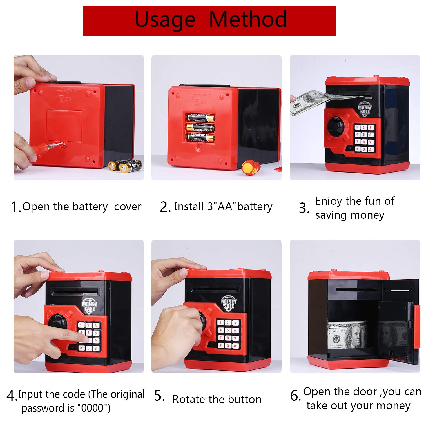 kingsida Electronic Password Piggy Bank Kids Safe Bank Mini ATM Electronic Money Save Box Cash Coin Can(Black and Red) by kingsida (Image #6)