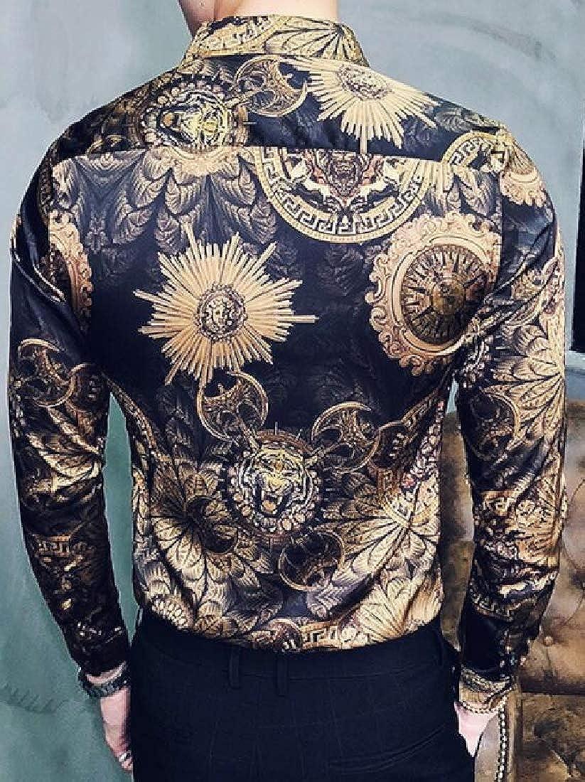 ARTFFEL Mens Long Sleeve Floral Tiger Regular Fit Club Button Down Dress Work Shirt