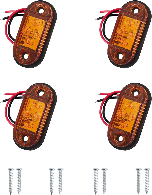 Autoutlet 4 X Side Lights 4 Led Side Marker Lights Universal Position Light 12 V 24 V For Lorries Trailers Vans Lorries Cars Buses Meet Dot E11 Standard Yellow Bulbs Auto