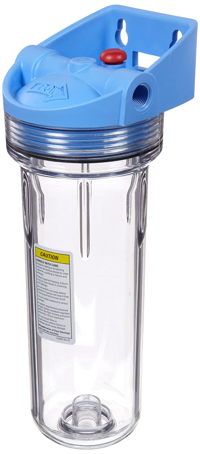 """Pentek 158643 3/8"""" #10 3G Slim Line Clear Filter Housing with Bracket and Pressure Relief"""