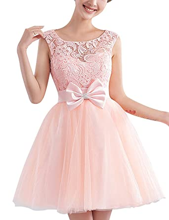 0c973b1d914 Tri-Better Women Short Lace Tulle Homecoming Dress Bridesmaid Prom Dress  Evening Gowns Pink