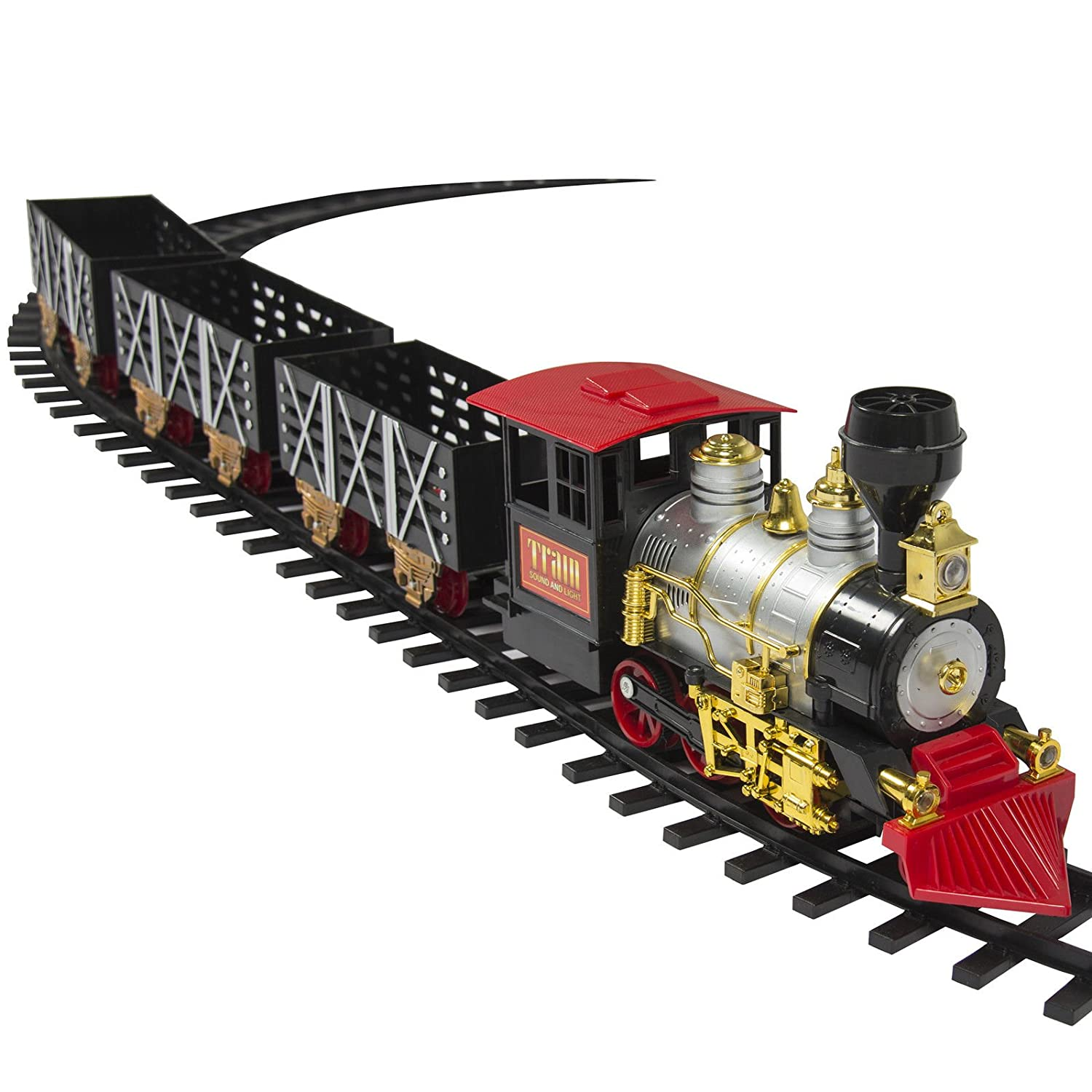 Amazon.com: Train Set Kids W/ Real Smoke, Music, Lights Battery ...