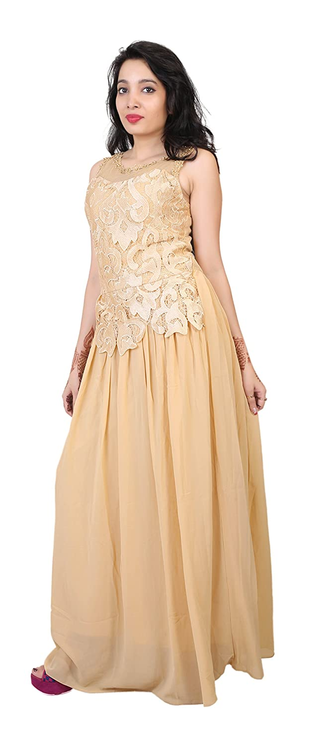 dfcd16bdfcd Carrel Women s A-Line Beige Colour Maxi Dress Gown(AGSPL-3314-RYE-DS-06-BEIGE-FREE)   Amazon.in  Clothing   Accessories