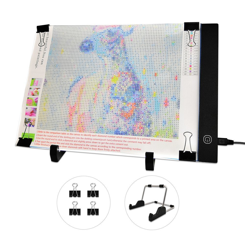 Mlife Diamond Painting A4 LED Light Pad, Dimmable Light Board Kit, Apply to Full Drill & Partial Drill 5D Diamond Painting with Detachable Stand and Clips