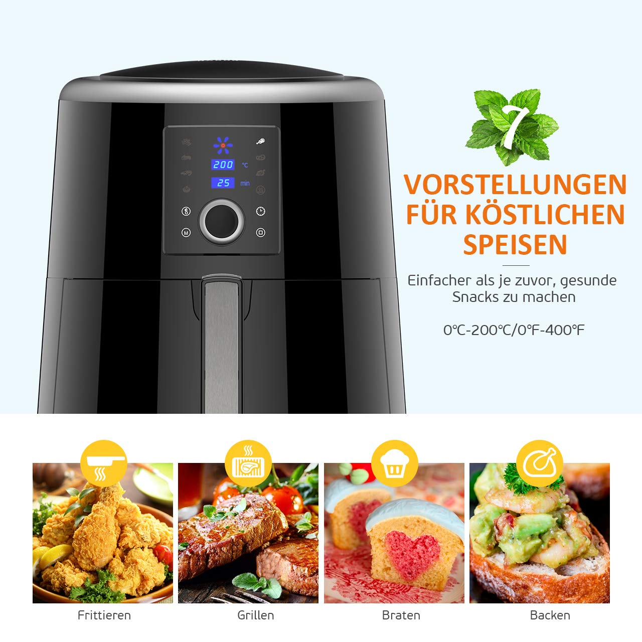 Habor Fritteuse Hei/ßluftfritteuse XXL Digitale Airfryer 1800W Fritteuse 5.5L f/ür 5-8 Personen Programmierbares 7-in-1 Touchscreen /& Auswahlrad 120-Minuten-W/ärmehaltefunktion /& Rezeptbuch.