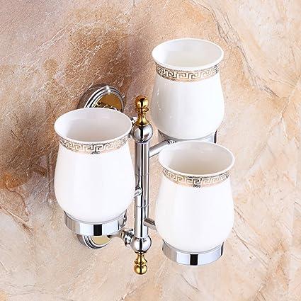 Full cobre vaso para cepillos de dientes estilo europeo marco actividades tres tazas taza de cerámica