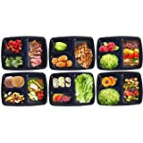 [15 Pack] Meal Prep Containers with 3 Compartments by Portion Master, Bento Box , Bento Lunch Box With Lids, BPA Free & FDA Approved, Durable, Microwave, Freezer, Dishwasher Safe, Stackable & Reusable