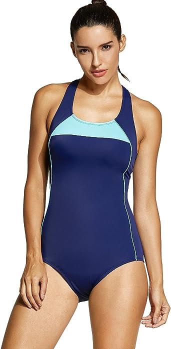 SYROKAN Womens Athletic One Piece Swimwear Racing Plus Size Sports Swimsuit
