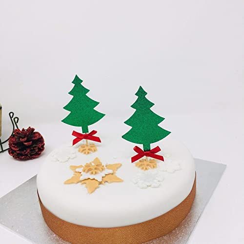 Christmas Trees Cake Topper With Red Bows Glitter Christmas Cake